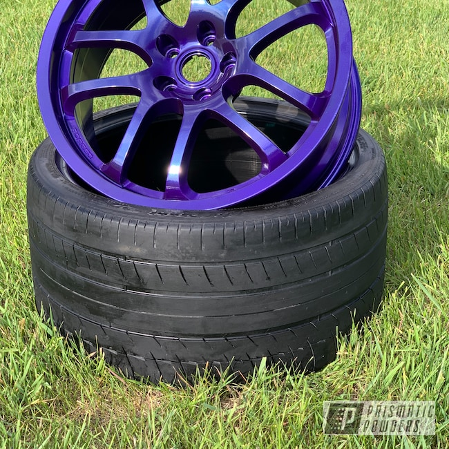 "Powder Coating: Wheels,350z,Automotive,SUPER CHROME USS-4482,17s,17"" Wheels,Infiniti,Majestic Purple PPB-2144"