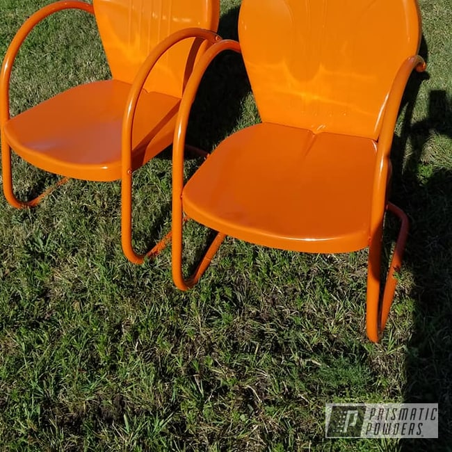 Powder Coating: Chairs,Vintage Lawn Chairs,Patio Funiture,RAL 2010 Signal Orange