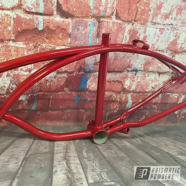 Powder Coating: candy red,Bicycles,Heavy Silver PMS-0517,Bike Frame,LOLLYPOP RED UPS-1506,Vintage Schwinn,Bicycle Frame
