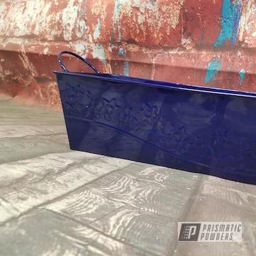 Powder Coated Dark Blue Tin Bucket
