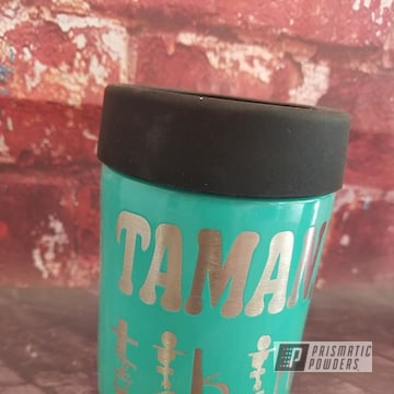Powder Coated Teal Can Koozie