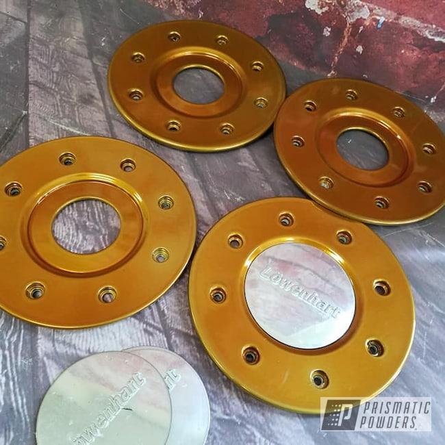 Powder Coating: Automotive,Wheel Faces,SUPER CHROME USS-4482,Transparent Gold PPS-5139,Wheel Fronts,Aluminum Rim
