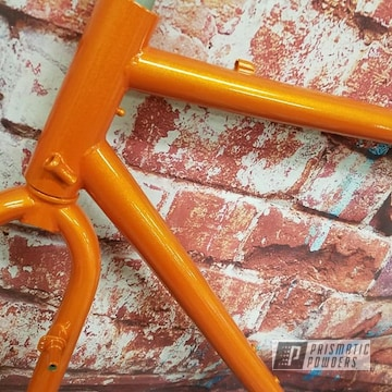 Powder Coated Orange Bicycle Frame