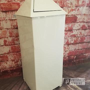 Powder Coated White Vintage Trash Can