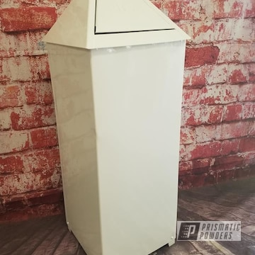Powder Coated White Vintage Trash Can