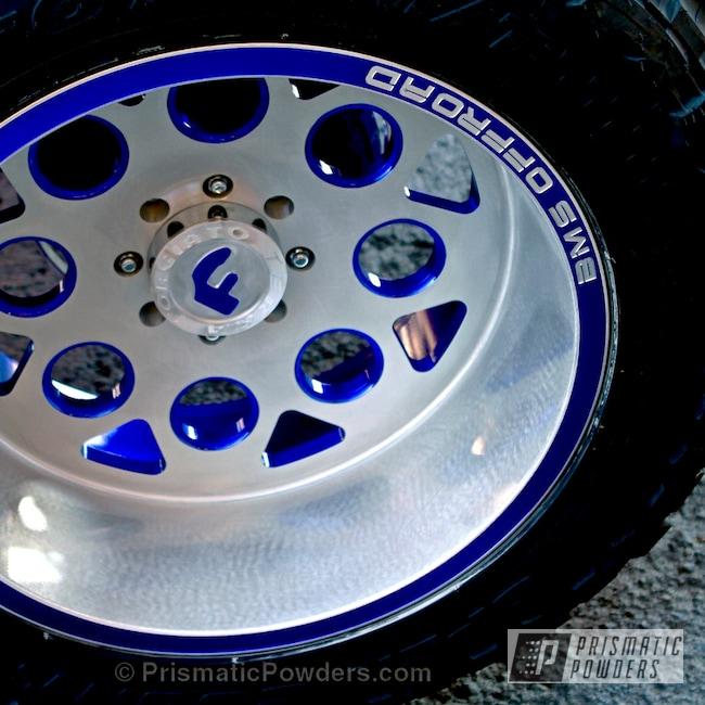 Powder Coating: Wheels,Automotive,Clear Vision PPS-2974,PIZZAZZ BLUE UPB-4677,Custom 2 Coats,Custom Powder Coated Two Tone Wheel
