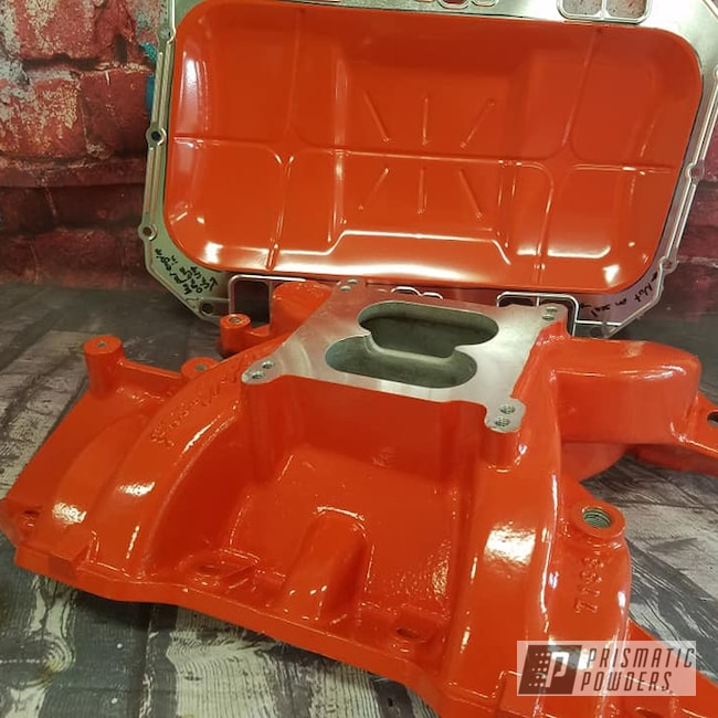 Powder Coating: Intake Manifold,Automotive,Engine Parts,Automotive Parts,Hemi Orange PSB-5898