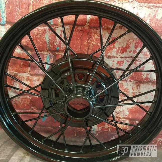 Powder Coating: Wheels,Model A Wheels,Automotive,Spoked Wheels,Ink Black PSS-0106,Steel Rims