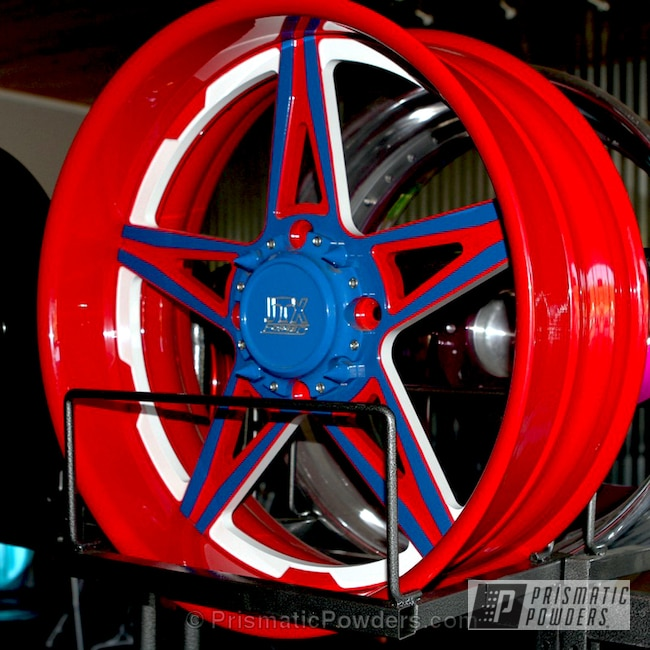 Powder Coating: Passion Red PSS-4783,Wheels,Automotive,Triple Tone Wheels,RAL 5017 RAL-5017,Off-Road,Custom Powder Coated Wheels,Red-White-and-Blue Theme,Snowcone White PSS-4369