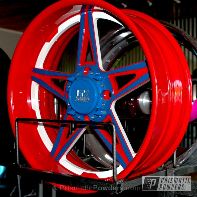 Powder Coating: Passion Red PSS-4783,Wheels,Automotive,Triple Tone Wheels,RAL 5017 Traffic Blue,Off-Road,Custom Powder Coated Wheels,Red-White-and-Blue Theme,Snowcone White PSS-4369