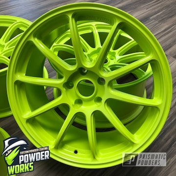 Powder Coated Bright Lime Green Wheels