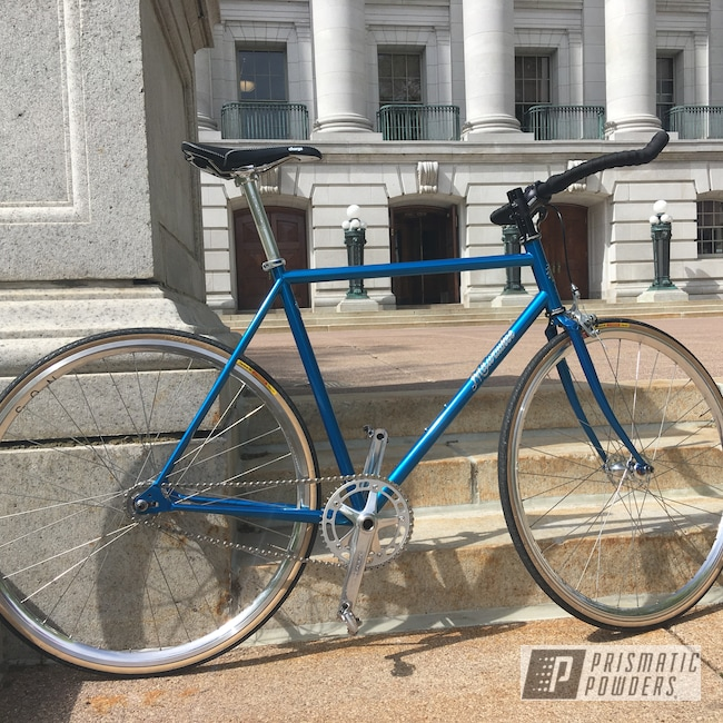 Powder Coating: Bicycles,SUPER CHROME USS-4482,Bike Frame,MAGIC TEAL UPB-4568