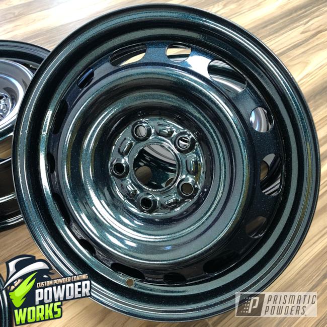 Powder Coating: Wheels,Automotive,Ink Black PSS-0106,Chameleon Teal PPB-5733