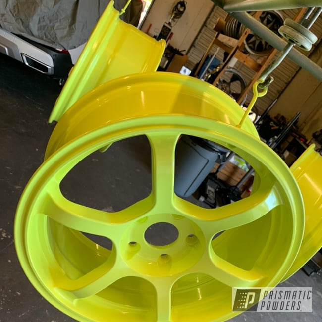 Powder Coating: Wheels,Automotive,Custom Wheels,Civic,17s,Honda,Honda Yellow PMB-1657