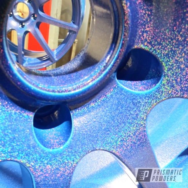 "Powder Coating: Wheels,Auto Parts,Automotive,Alloy Wheels,2 Color Application,17s,17"" Wheels,Blue Madness PPB-4359,Polar White PSS-5053,Aluminum Wheels"