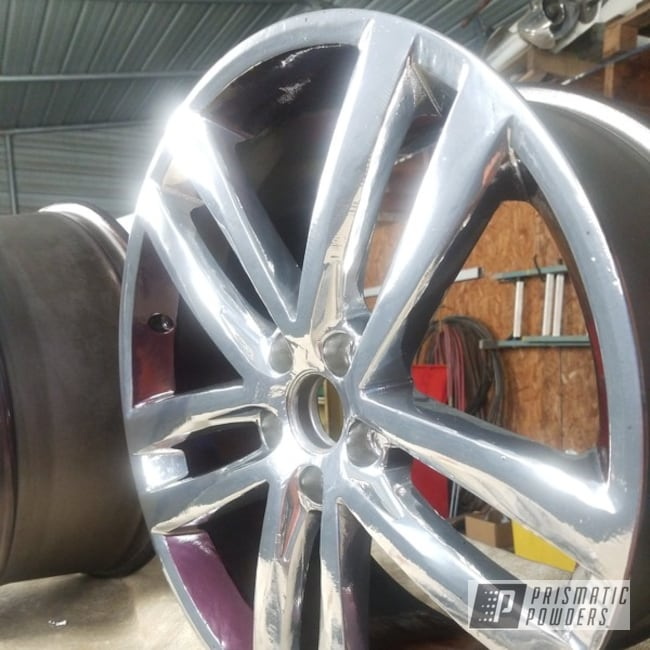 "Powder Coating: Wheels,19"",Automotive,Impala,Silver Sparkle PPB-4727,SUPER CHROME USS-4482,Passat,19"" Aluminum Rims,Masking,VW,Chevy"