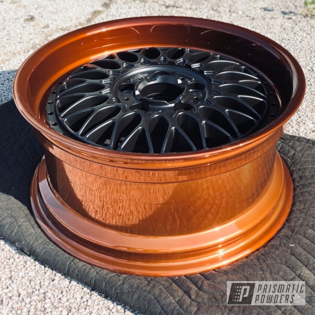 "Powder Coating: Wheels,18"",Automotive,18"",Transparent Copper PPS-5162,SUPER CHROME USS-4482,Rims,Two Toned"