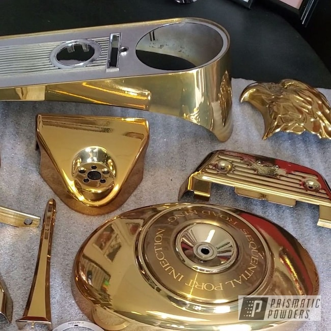 Powder Coating: Harley Davidson Parts,Harley Davidson,Clear Vision PPS-2974,Transparent Gold PPS-5139,Motorcycles