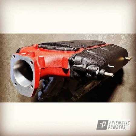 Powder Coating: Intake Manifold,Splatter Black PWS-4344,Automotive,Acura,Acura TL,Two Tone,Engine Parts,Desert Red Wrinkle PWS-2762