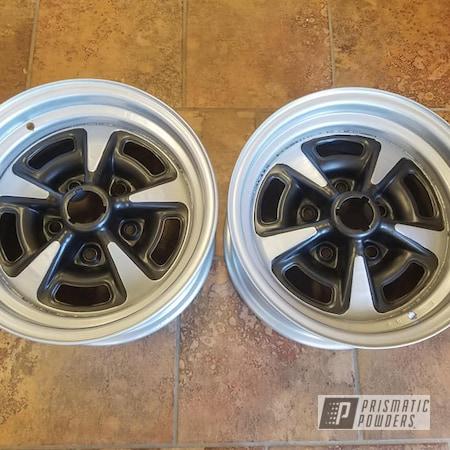 "Powder Coating: Wheels,Automotive,Evo Grey PMB-5969,2 Color Application,Rally Wheels,Alloy Silver PMS-4983,Refinish,Two Toned,Rim Refinishing,14"" Wheel"