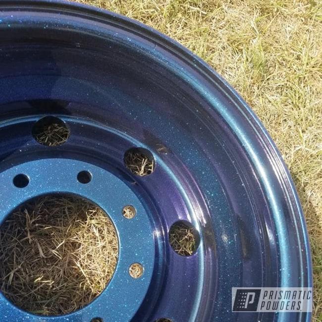 "Powder Coating: Wheels,Automotive,Chameleon Sapphire PPB-5729,Ink Black PSS-0106,2 Stage Application,15"" Wheels,Aluminium Rims,15"" Wheel"