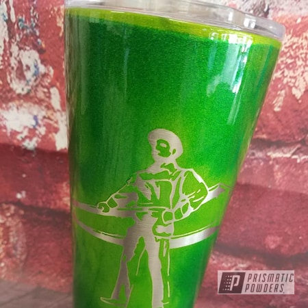 Powder Coating: Iron Worker,Illusion Powder Coating,Clear Vision PPS-2974,Drinkware,2 Stage Application,Illusion Green PMS-4516,Illusion Sour Apple PMB-6913,Custom Cup,20oz Tumbler