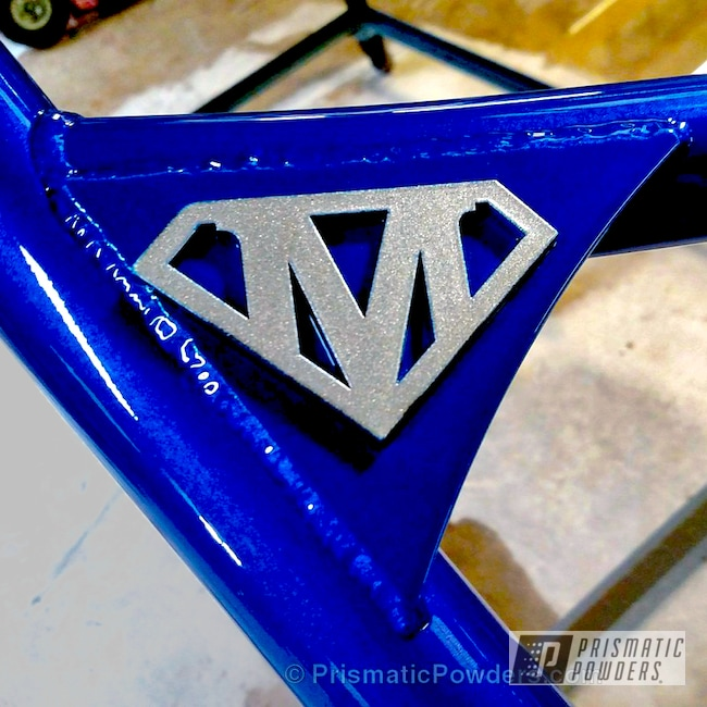 Powder Coating: Clear Vision PPS-2974,ATV,Illusion Blueberry PMB-6908,Alien Silver PMS-2569,Custom Powder Coated ATV Frame,Super M