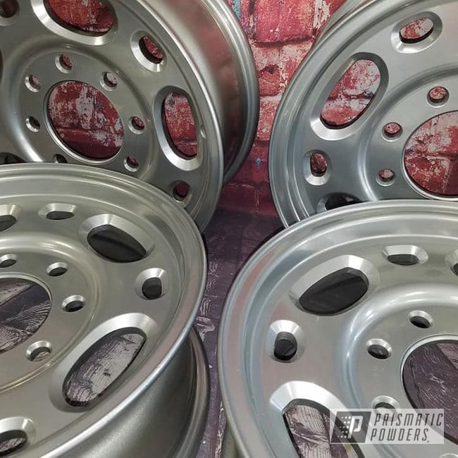 "Powder Coating: Wheels,Automotive,Clear Vision PPS-2974,SUPER CHROME USS-4482,Aluminum Rims,2 Stage Application,14"" Aluminum Wheels"
