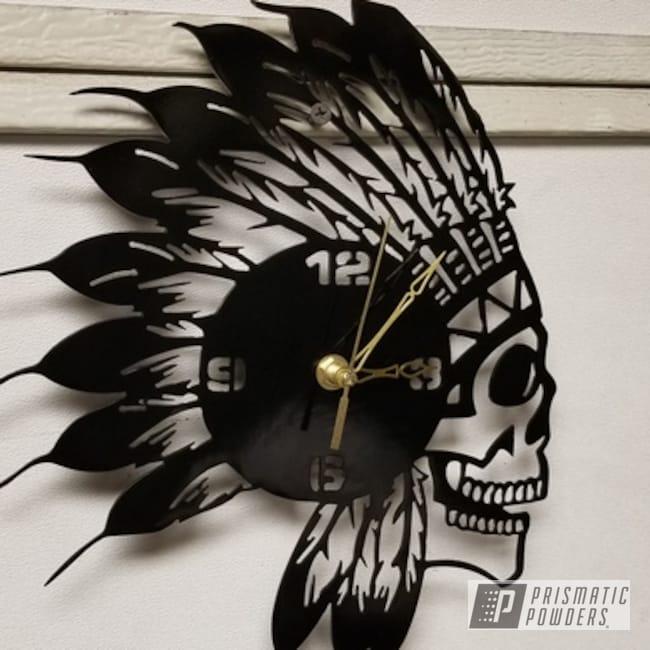 Powder Coating: Metal Art,Native American,Ink Black PSS-0106,plasma,Indian,Custom Clock,Clock