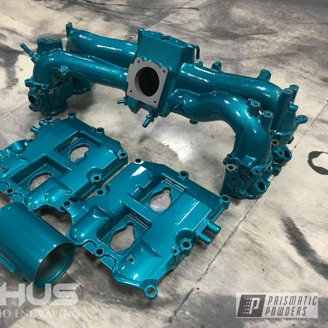 Powder Coating: Intake Manifold,Automotive,STI,JAMAICAN TEAL UPB-2043,Subaru Intake,Subaru,Alien Silver PMS-2569,Subaru Valve Covers