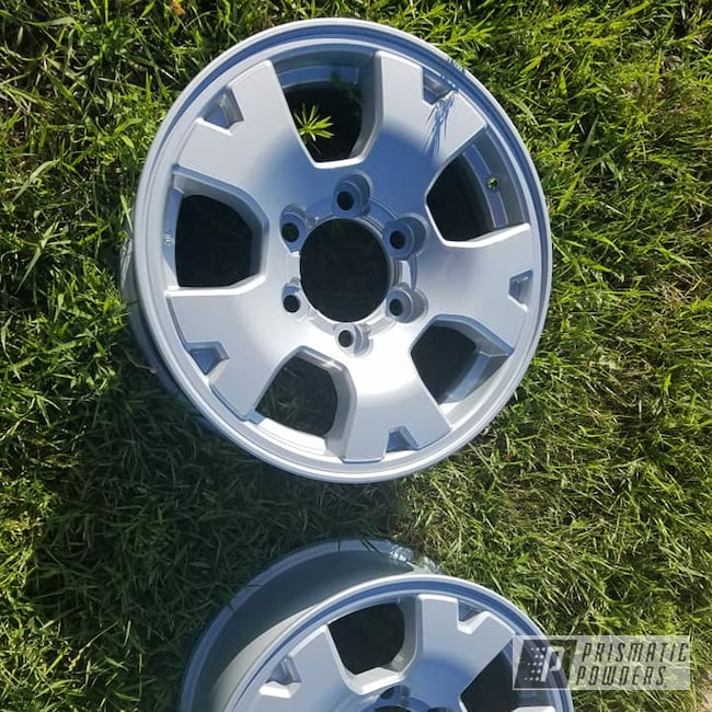 """Powder Coating: Wheels,Automotive,Clear Vision PPS-2974,Aluminum Rims,2 Stage Application,Alloy Silver PMS-4983,15"""" Wheel"""