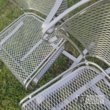 Powder Coated Silver Metal Lawn Chairs