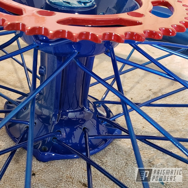 Powder Coating: Kawasaki,Clear Vision PPS-2974,Illusion Blueberry PMB-6908,KX250,Illusion Red PMS-4515,Motorcycles,Dirt Bike Frame,Dirt Bike