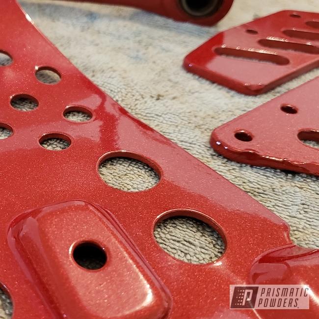 Powder Coating: Kawasaki,Clear Vision PPS-2974,Illusion Blueberry PMB-6908,KX250,Illusion Red PMS-4515,Motorcycles,Dirt Bike Frame,Dirt Bike