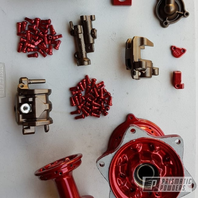 Powder Coating: DAZZLING RED UPB-1453,SUPER CHROME USS-4482,TRIPLE BRONZE UMB-4548,Dirt Bike Parts,2 Stage Application,Motorcycles,Dirtbike,Dirt Bike