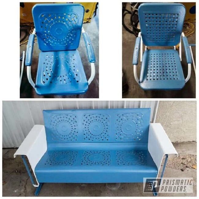 Powder Coated Blue And White Vintage Patio Furniture