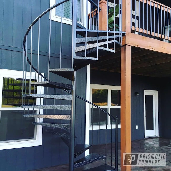 Powder Coating: Stairs,Custom Built,Custom Stairs,Home Furnishings,Ironstone Midnight PLB-3145,Deck,Functional,home,DIY,Welding,Spiral Staircase,Spiral,Staircase,project,Outdoor,Home Improvement,patio