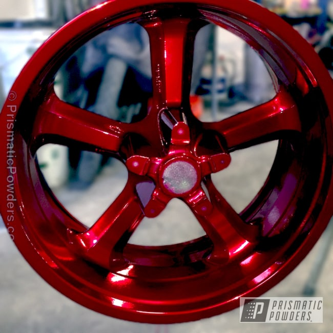 Powder Coating: Wheels,SUPER CHROME USS-4482,chrome,Harley Davidson V Rod Wheel,Motorcycles,Soft Red Candy PPS-2888