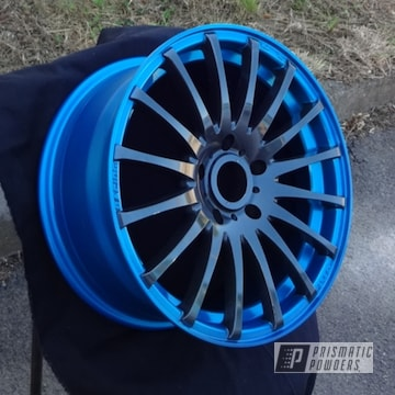 Powder Coated Blue And Black Two Toned Wheel Rim