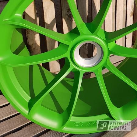 "Powder Coating: Wheels,Automotive,Race Wheels,Porsche,20"",20"" Aluminum Wheels,Sweet Pea Green PSS-1070,Matte Finish,Casper Clear PPS-4005,GT2 RS"