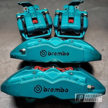 Teal Brembo Brake Calipers