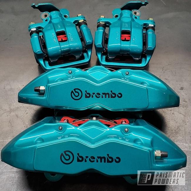 Powder Coating: Automotive,Brakes,JAMAICAN TEAL UPB-2043,Brembo,Alien Silver PMS-2569,Custom Brakes,Brake Caliper