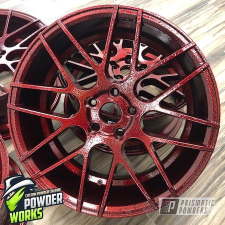Powder Coating: Wheels,Automotive,LOLLYPOP RED UPS-1506,Black Frost PVS-3083