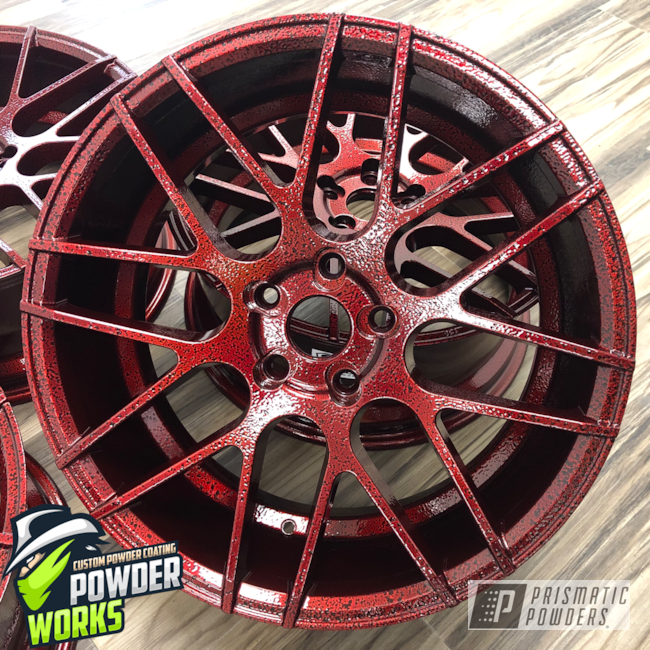 Powder Coating: Wheels,Automotive,LOLLYPOP RED UPS-1506,Black Frost PVS-3083