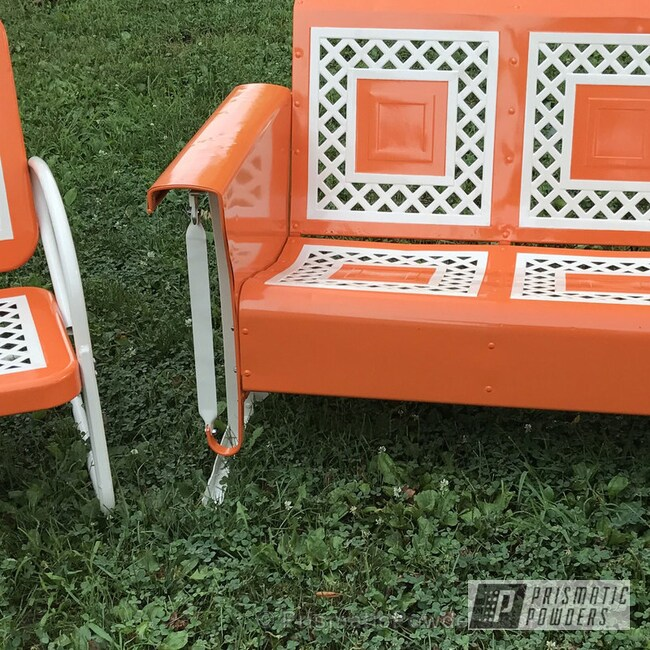 Powder Coating: Patio Furniture,Polar White PSS-5053,Burley Man Orange PMB-2939,Furniture