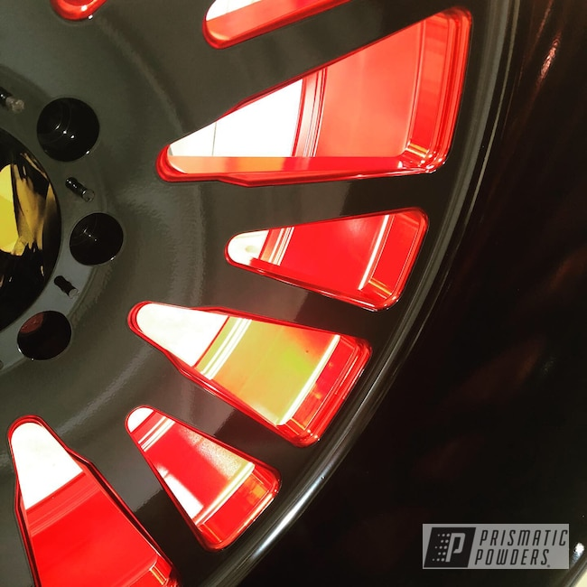 Powder Coating: Wheels,Automotive,LOLLYPOP RED UPS-1506,Ink Black PSS-0106,Two Tone