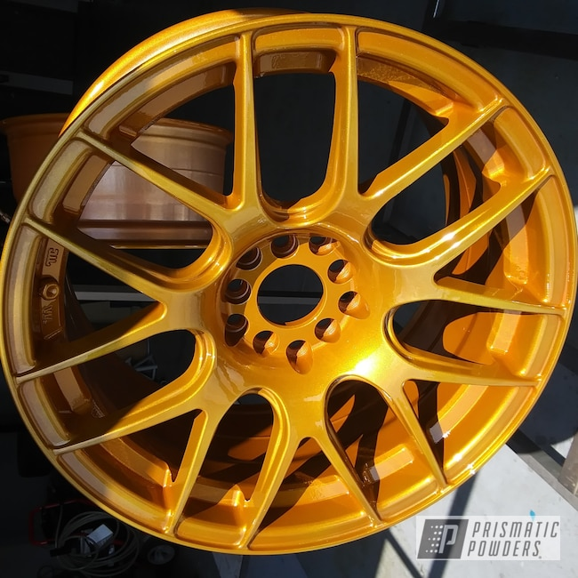 Powder Coating: Wheels,Automotive,Clear Vision PPS-2974,Illusion Spanish Fly PMB-6920