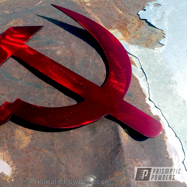 Powder Coating: Hammer and Sickle,Soviet Union,Art,WILDER RED UPB-4842,Miscellaneous,Brushed Metal Art