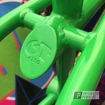 Powder Coated Green Bmx Frame