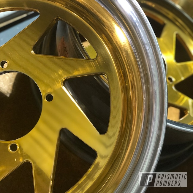 Powder Coating: Wheels,Automotive,Brassy Gold PPS-6530,Two Toned